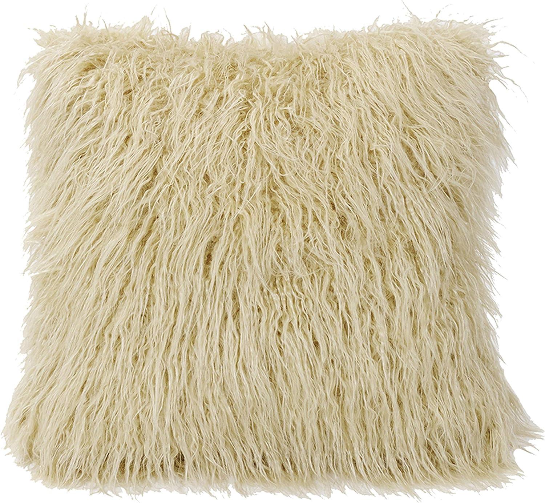 HiEnd Accents Mongolian Faux Fur Pillow, 18x18 Cream
