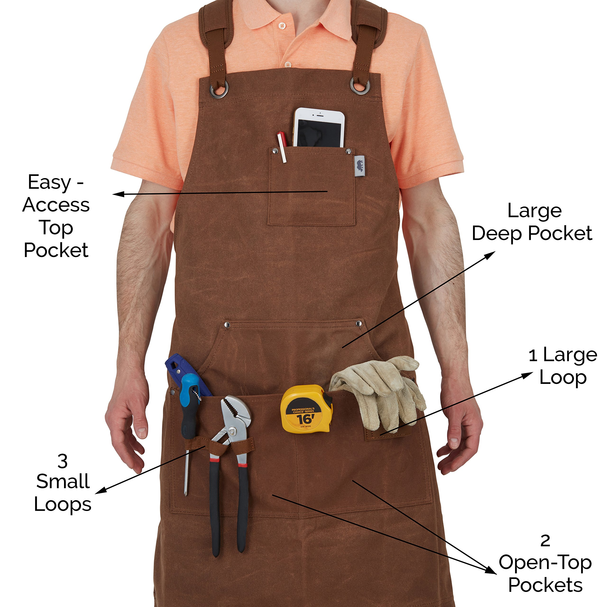 Heavy-Duty Waxed-Canvas Work Apron for Men and Women with Pockets for Tools Cross-Back Straps  – Adjustable from M to XXL (Brown) by Premium Rhino (Image #5)