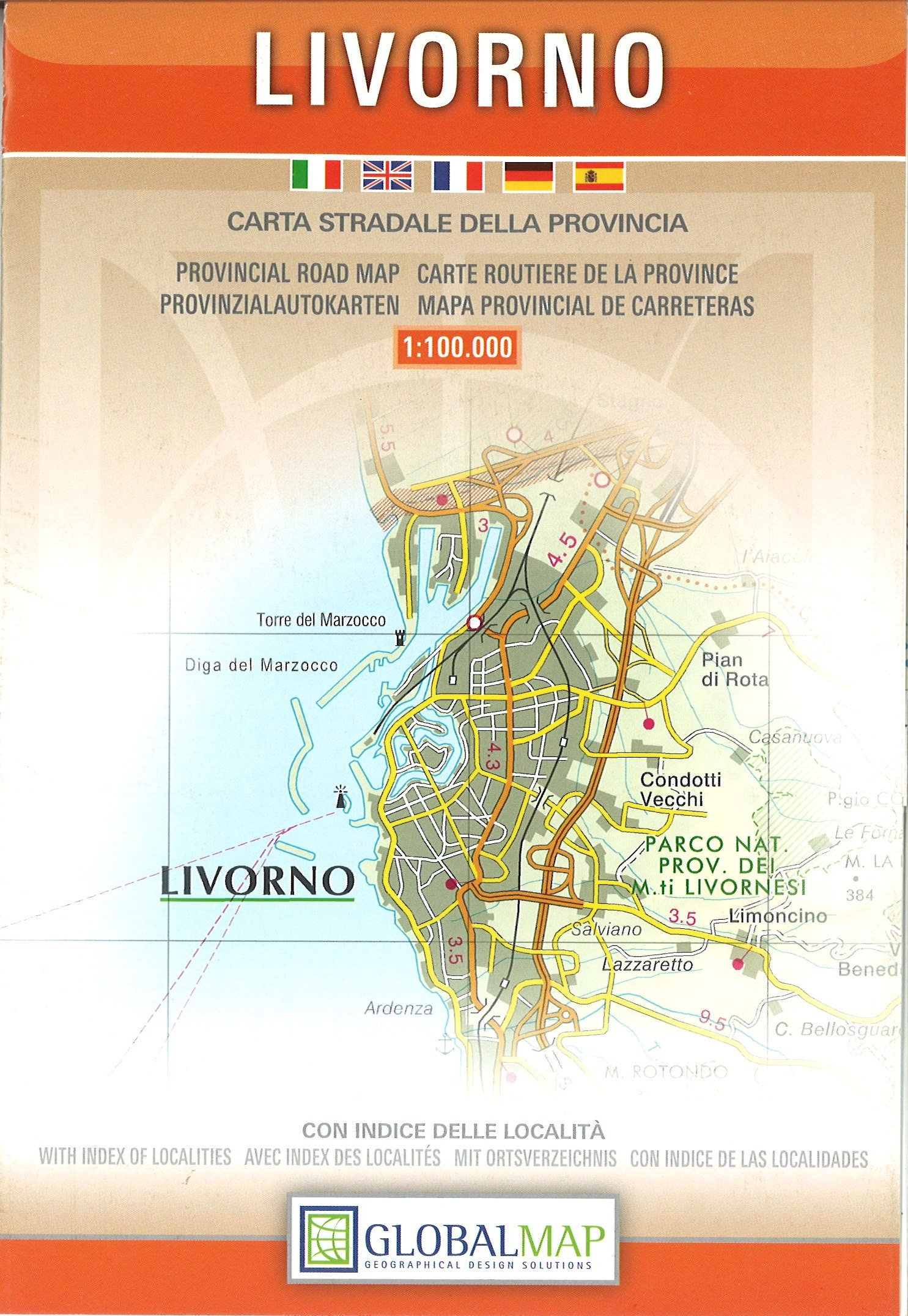 Provincial Map Of Italy.Livorno Italy Provincial Road Map English Spanish