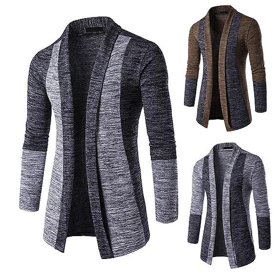 Hey !! Cárdigans para Hombre,Longra Cárdigan Suéter Hombre Knit Jacket Sweatshirt Sweat Punto Rebeca para Hombre con…