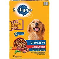 PEDIGREE VITALITY+ Dry, Food for Dogs Hearty Beef and Vegetable Flavour Dog Dry, 8kg