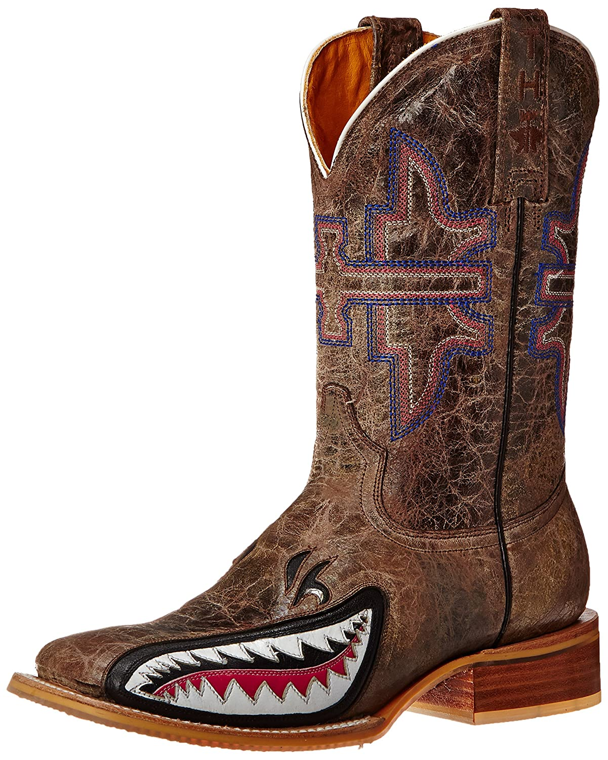 Tin Haul Shoes Women's Man Eater Western Boot B0084C55FG 6.5 B(M) US|Brown Crackle
