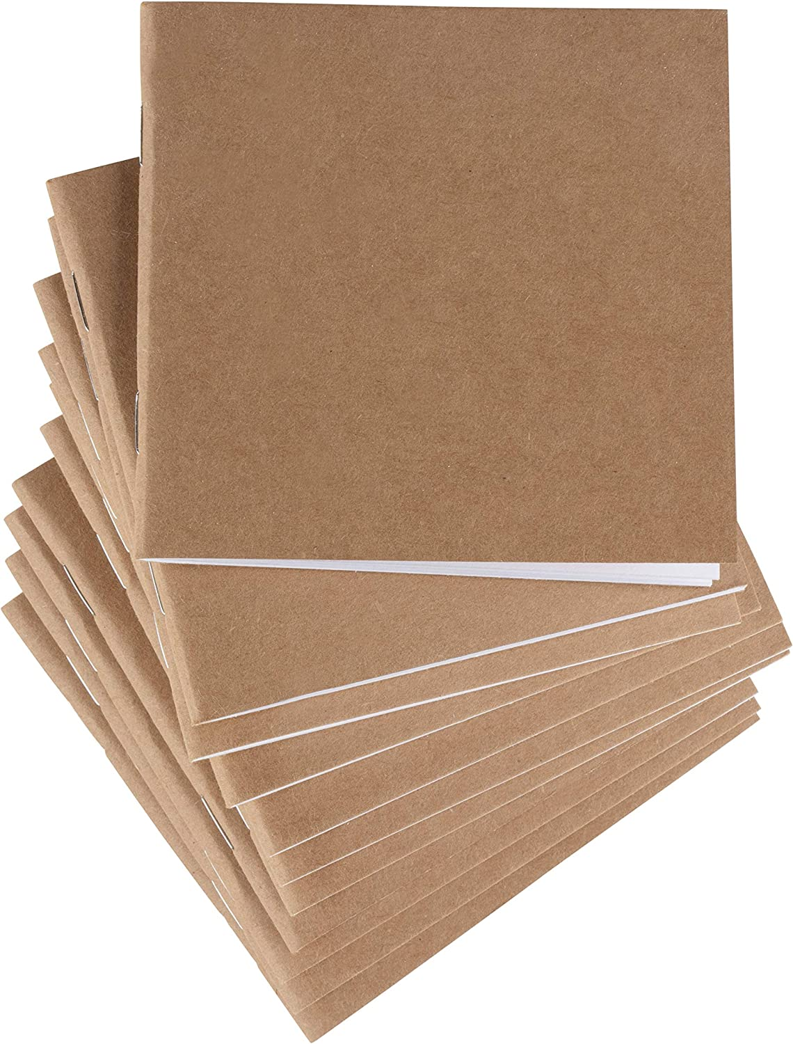 48-Pack Kraft Mini Notebooks Bulk, Unlined Blank Travel Journals Small, for Students, Kids, Class Projects, Brown Cover, 4.1 x 4.2 Inches, 24 Sheets Each