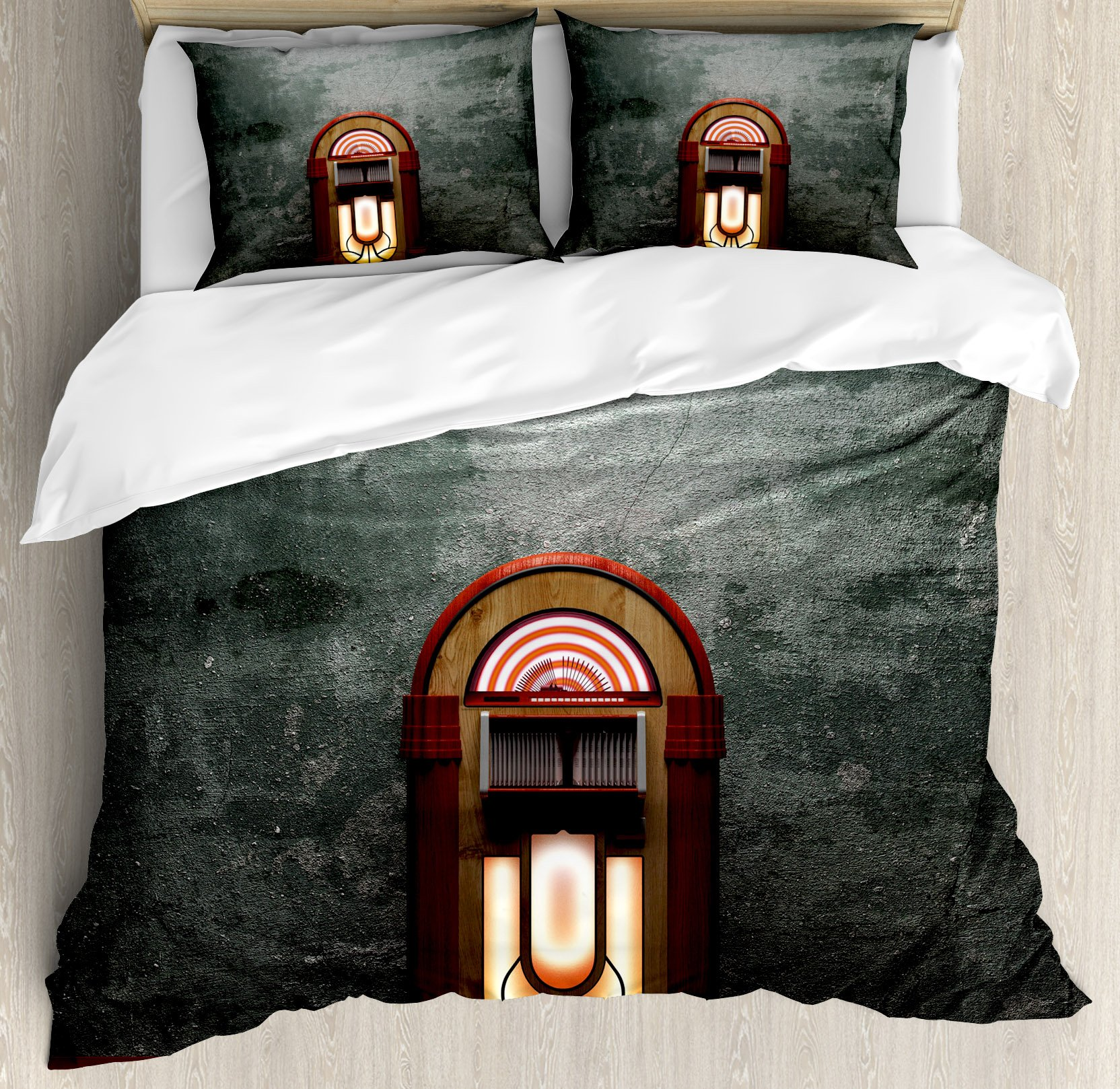 Jukebox Duvet Cover Set by Ambesonne, Scary Movie Theme Old Abandoned Home with Antique Old Music Box Image, 3 Piece Bedding Set with Pillow Shams, Queen / Full, Petrol Green and Brown