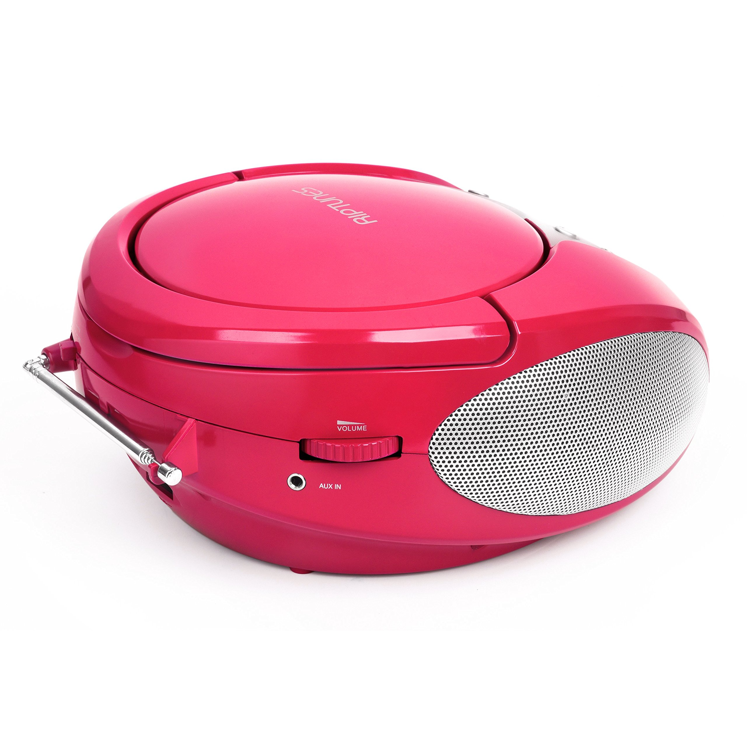 Riptunes Portable CD Player with AM FM Radio Potable radios Boom Box with Aux Line-in, Pink by Riptunes (Image #5)