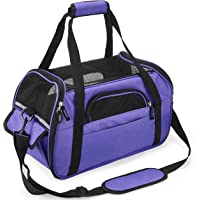 Kaka mall Pet Carrier Waterproof Fabric Padded Soft Sided Airline Approved Portable Collapsible Mesh Breathable for Small Puppy Dogs Cats Travel Bag Can be Connected with Car Seat Belts (Purple Small)