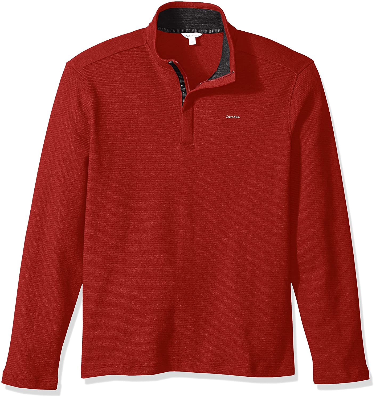 Calvin Klein Mens Solid S& z Mock Neck Quater Zip 401K202