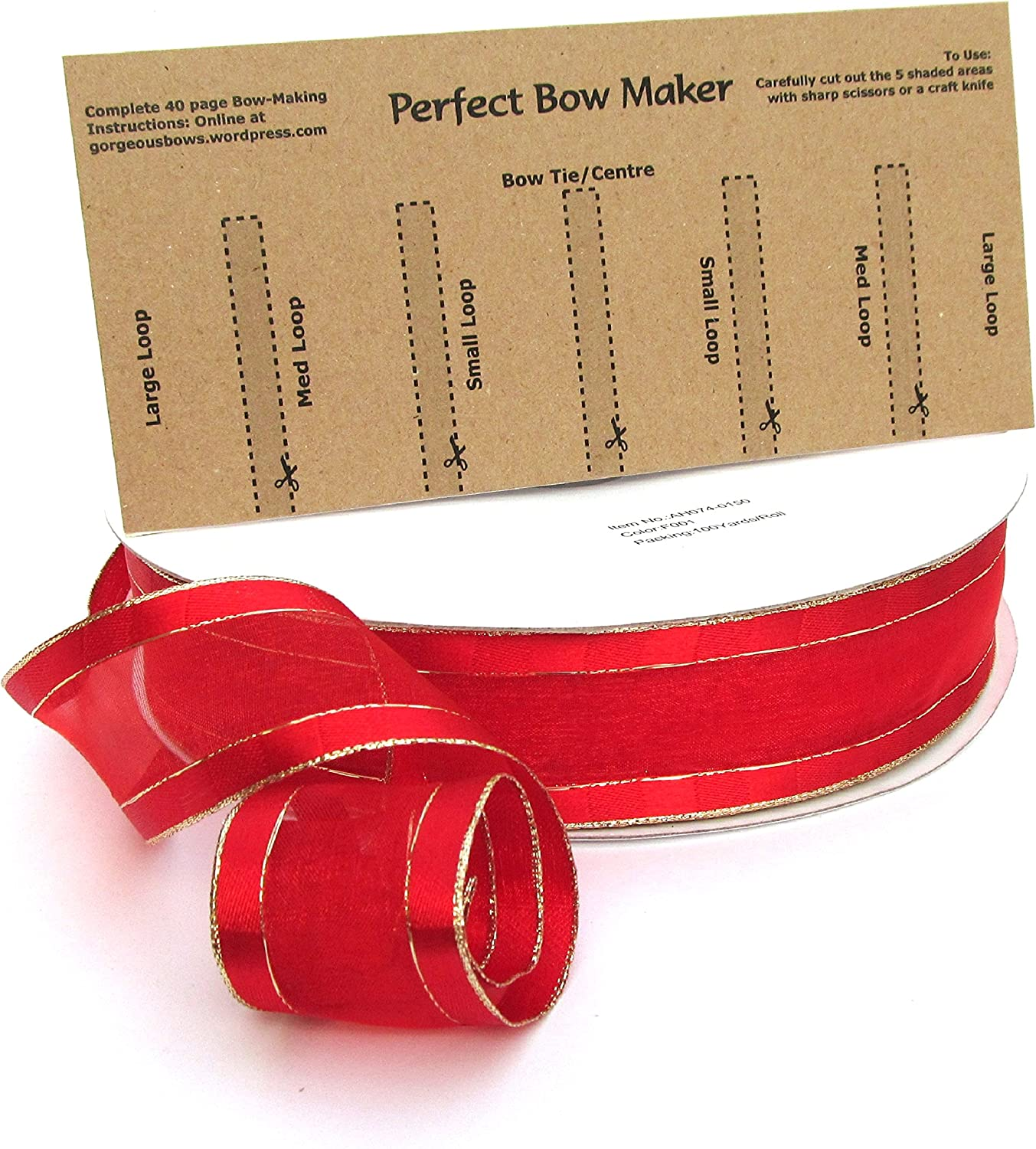 10 Metres Red Gold Stripe Centre Wire Edged Ribbon 1 5 38mm Free Bow Maker Amazon Ca Home Kitchen