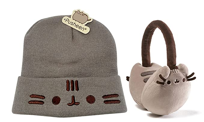 c8b43c996b8 Pusheen Earmuffs and Cat Face Beanie with Ears  Amazon.co.uk  Clothing