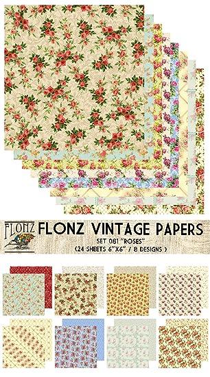 Paper Pack (24blatt 15x15cm) Rosen Blumen Muster FLONZ Vintage ...