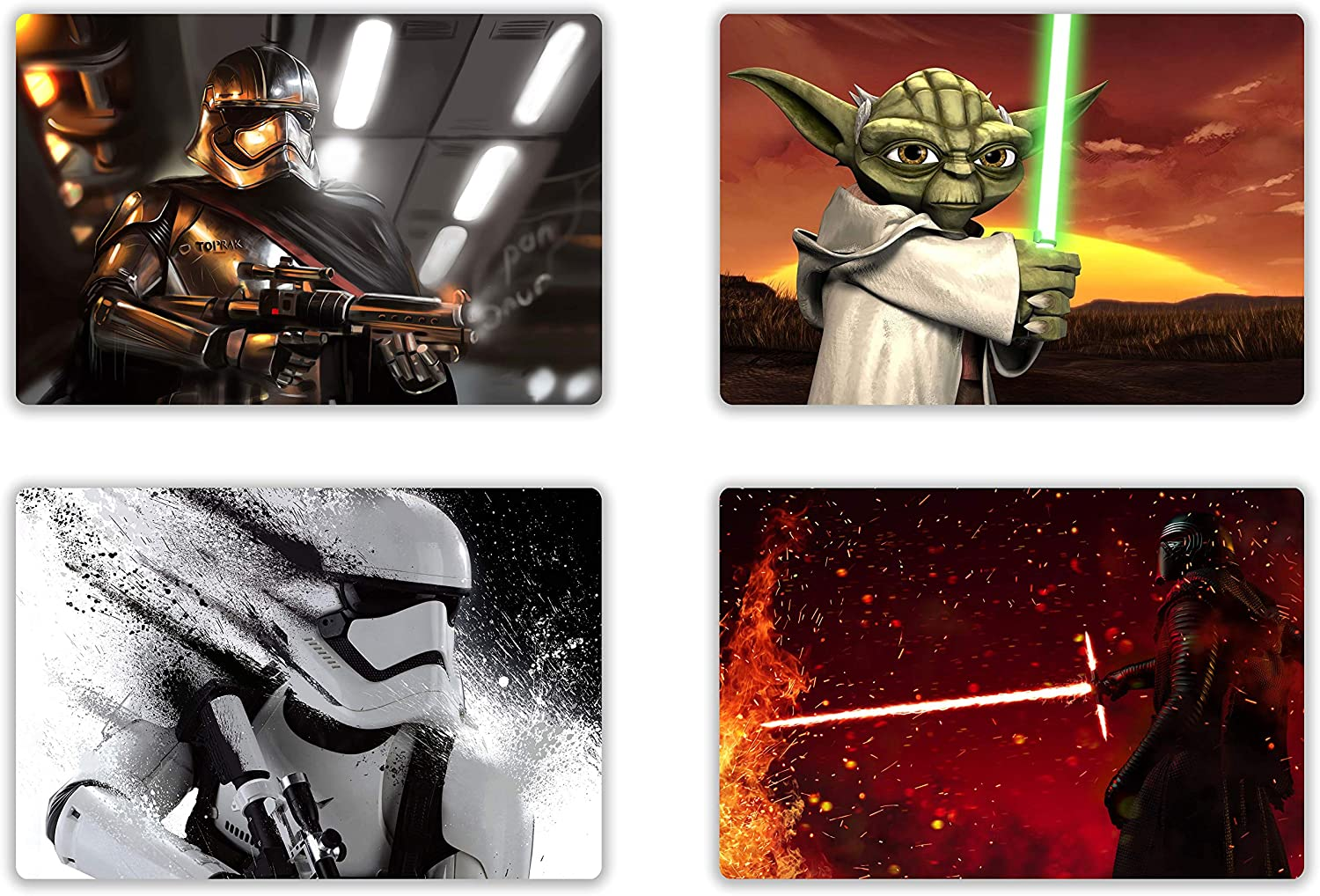 4PCS St_ar Wars Black Series Placemats - Kid Placemats ,Da_rth Va_der K_ylo Ren Y_oda Placemats for Dining Table, Plastic Waterproof Heat Insulation Table Place Mats for Kitchen Table