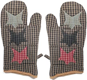 CWT Home Country Primitive Kitchen Decor Oven Mitt Pot Holder, Set of 2 (Country Star)
