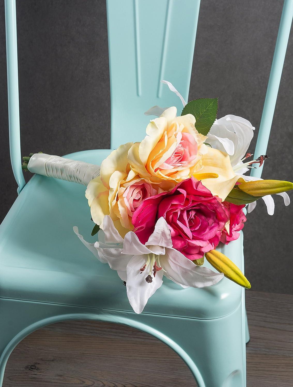 Natural Silk Flowers For Bridal Bouquet DII 4 Piece Artificial Tiger Lily Office Decor Centerpiece D/écor DIY Arts /& Crafts Project Home Decoration Garden Orange CAMZ33623