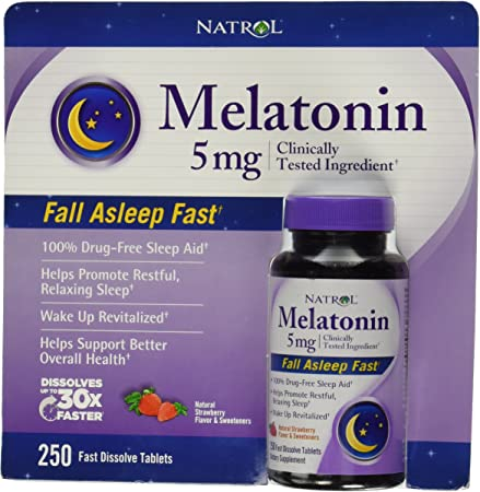 Natrol Melatonin 5 Mg, 250 Fast Dissolve Tablets Strawberry Flavor