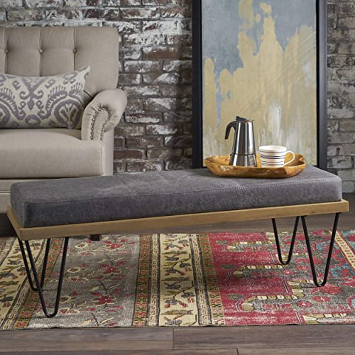Christopher Knight Home Elisha Industrial Modern Microfiber Bench