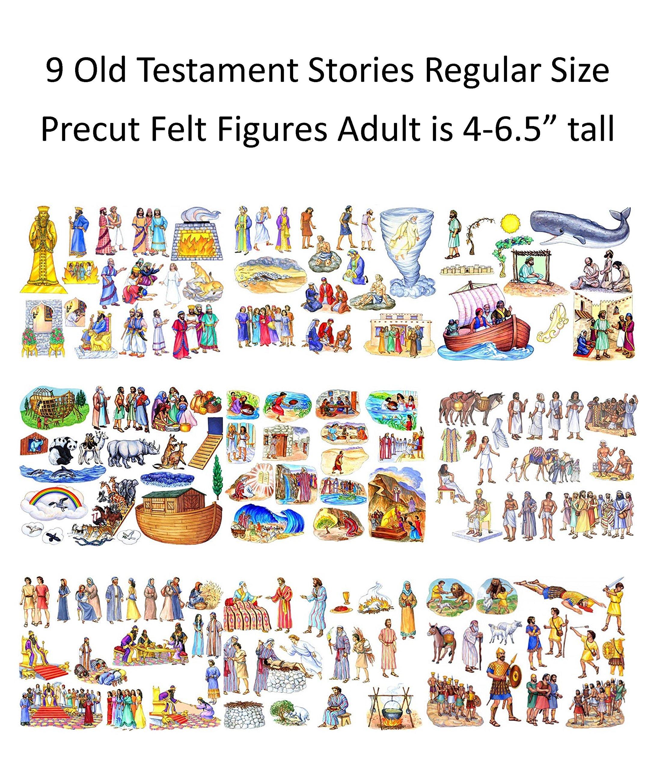 9 Old Testament Bible Stories Precut Felt Figures for Flannel Board Noah, David, Daniel, Job, Jonah, Joseph, Abraham, Ruth Esther, Moses