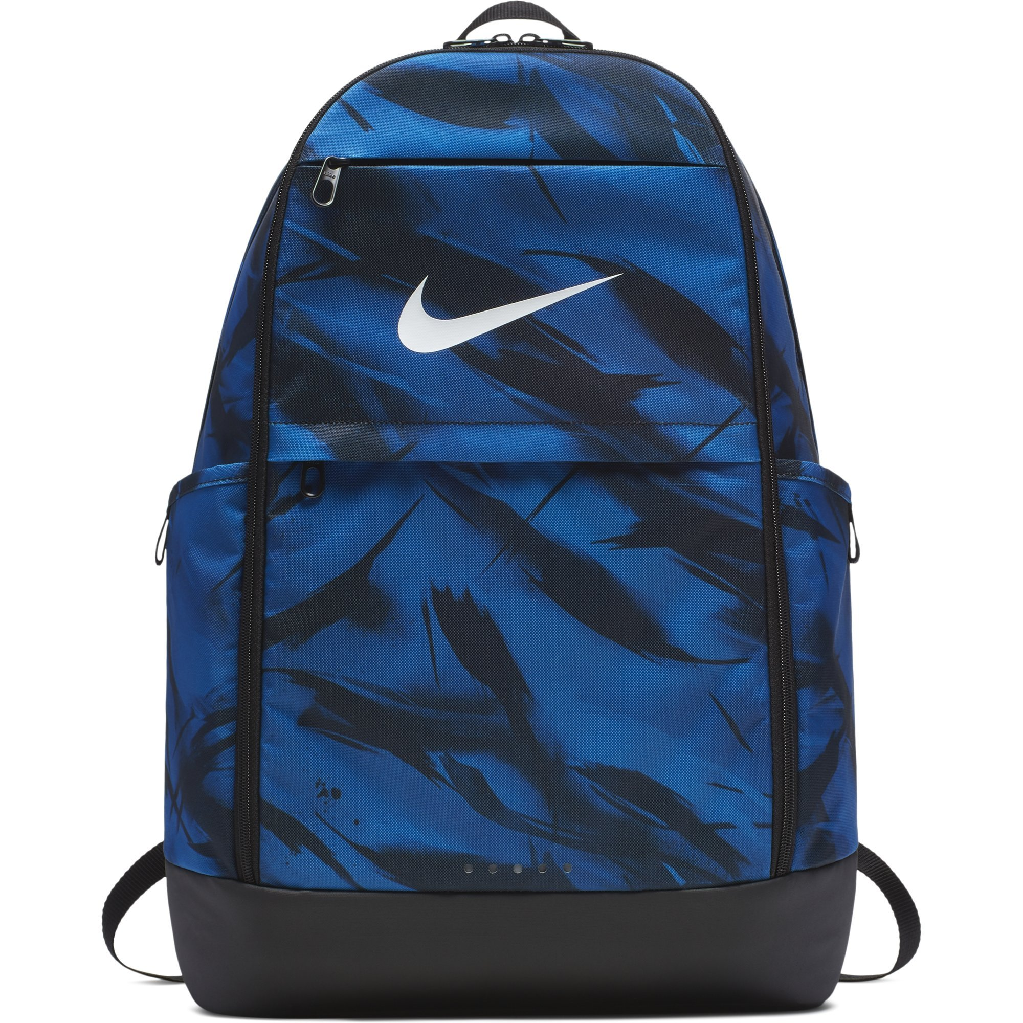 NIKE Brasilia All Over Print Backpack, Gym Blue/Black/White, X-Large