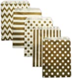 Gold Paper Party Treat Bags 60 Count 5x7 Chevron Stripe Polka Dot W/ Clear Seals