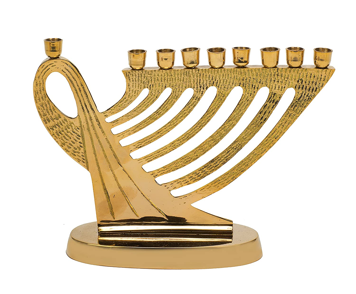 Biedermann & Sons Brass Harp Design Menorah Candle HM80