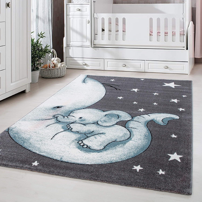 Kinderteppich Kinderzimmer Babyzimmer Niedlicher Elefant Grau Blue Weis Oeko Tex Ma/ße:/Ø 120 cm Rund