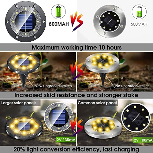 Solar Ground Lights Outdoor Waterproof, 8 Packs New Upgraded Material Solar Powered Garden Lights, 8 LED Solar Disk Lights Landscape Lighting for Lawn Patio Pathway Yard Deck – Warm White