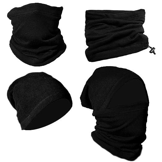 9a6dbc65f8a Neck Warmer Gaiter 2 Pack Premium Black Fleece Winter Face Mask Balaclava  Nose Warmer Tube Scarf