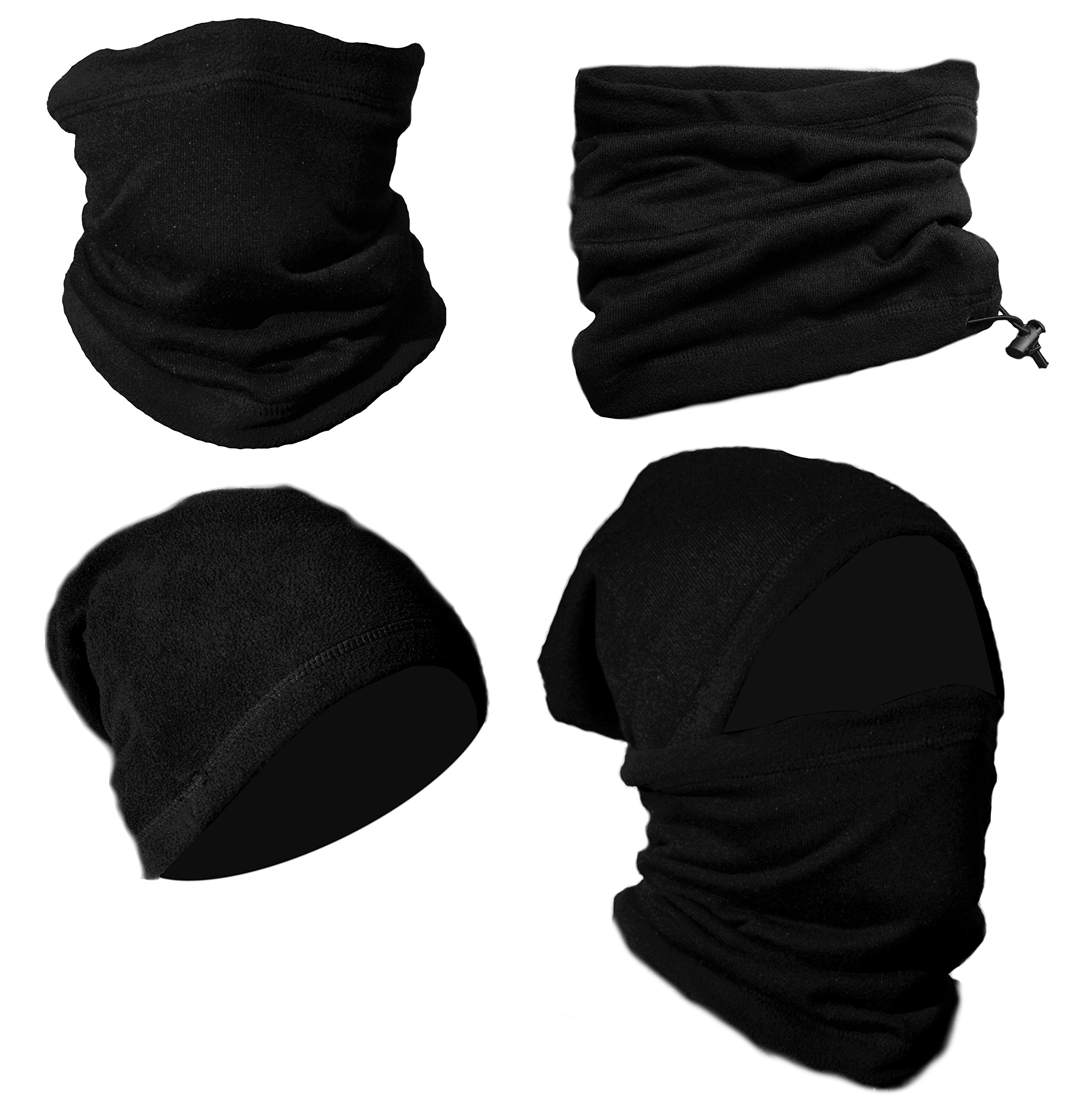 TEX-STYLE 2 Pack Premium Black Fleece Neck Warmer Neck Gaiter Balaclava Nose Warmer Tube Scarf Cap Beanie Headband Thermal Face Mask No-Pilling Multifunctional Headwear for Skiing & Winter Activities