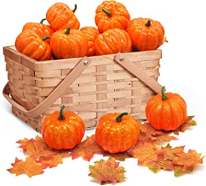 JOYIN Thanksgiving Artificial Pumpkins Home Decoration Set Autumn Harvest Festivals Decor, Mixture of 48 PCS Fake Pumpkins Maple Leaves