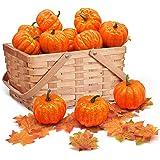 JOYIN Thanksgiving Artificial Pumpkins Home Decoration Set Autumn Harvest Festivals Decor, Mixture of 48 PCS Fake…