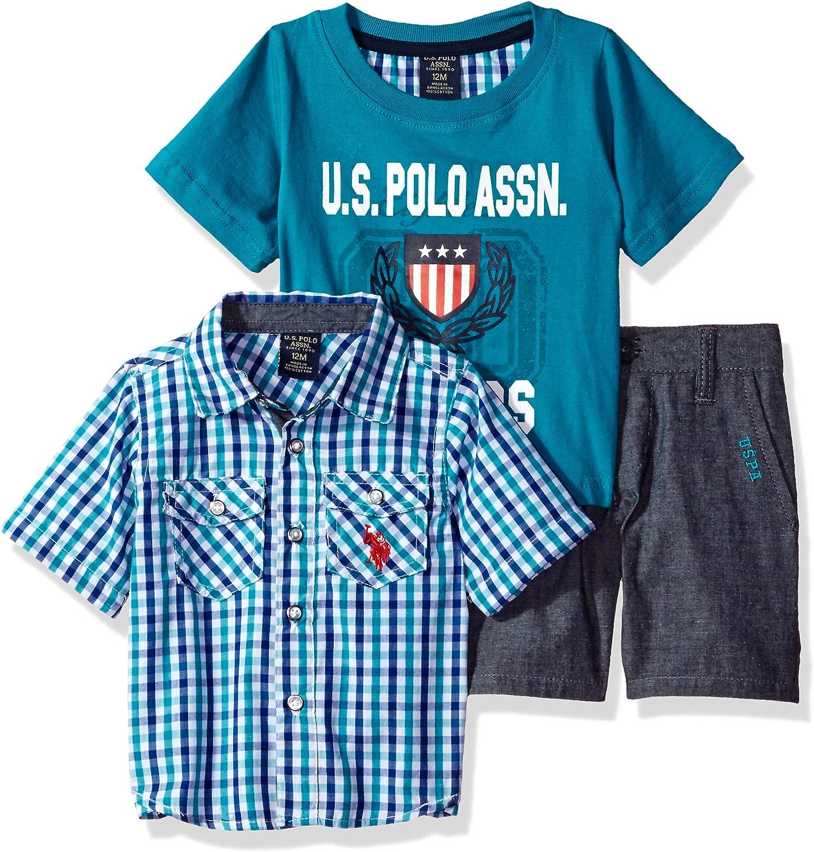 U.S Polo Assn T-Shirt and Twill Short Set Baby Boys Sleeve Sport
