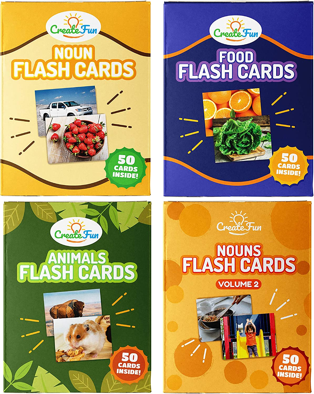 100 Vocabulary Builder Photo Cards CreateFun Action Verbs Flash Cards Bundle