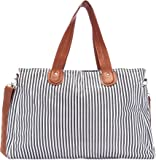 Diaper Tote by Elibag - Large Weekender Tote, Cute French Stripe Baby Diaper Bag Organizer