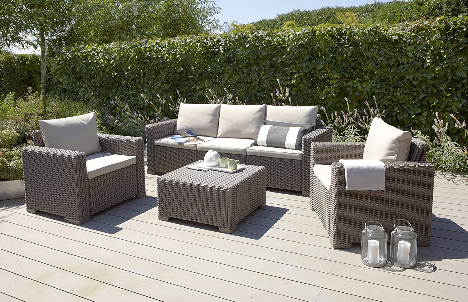 Rattan Look Outdoor Garden Lounge Set seats upto six: Amazon.ca