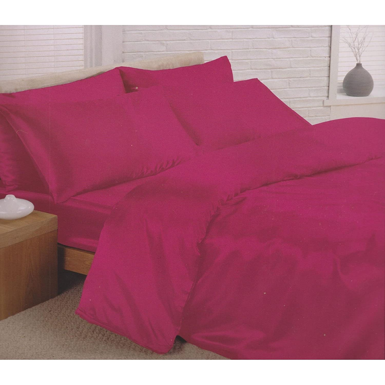 Charisma Satin Bedding Set (Duvet Cover, Fitted Sheet & Pillowcases) (Single) (Cerise) Universal Textiles UTMS169_25