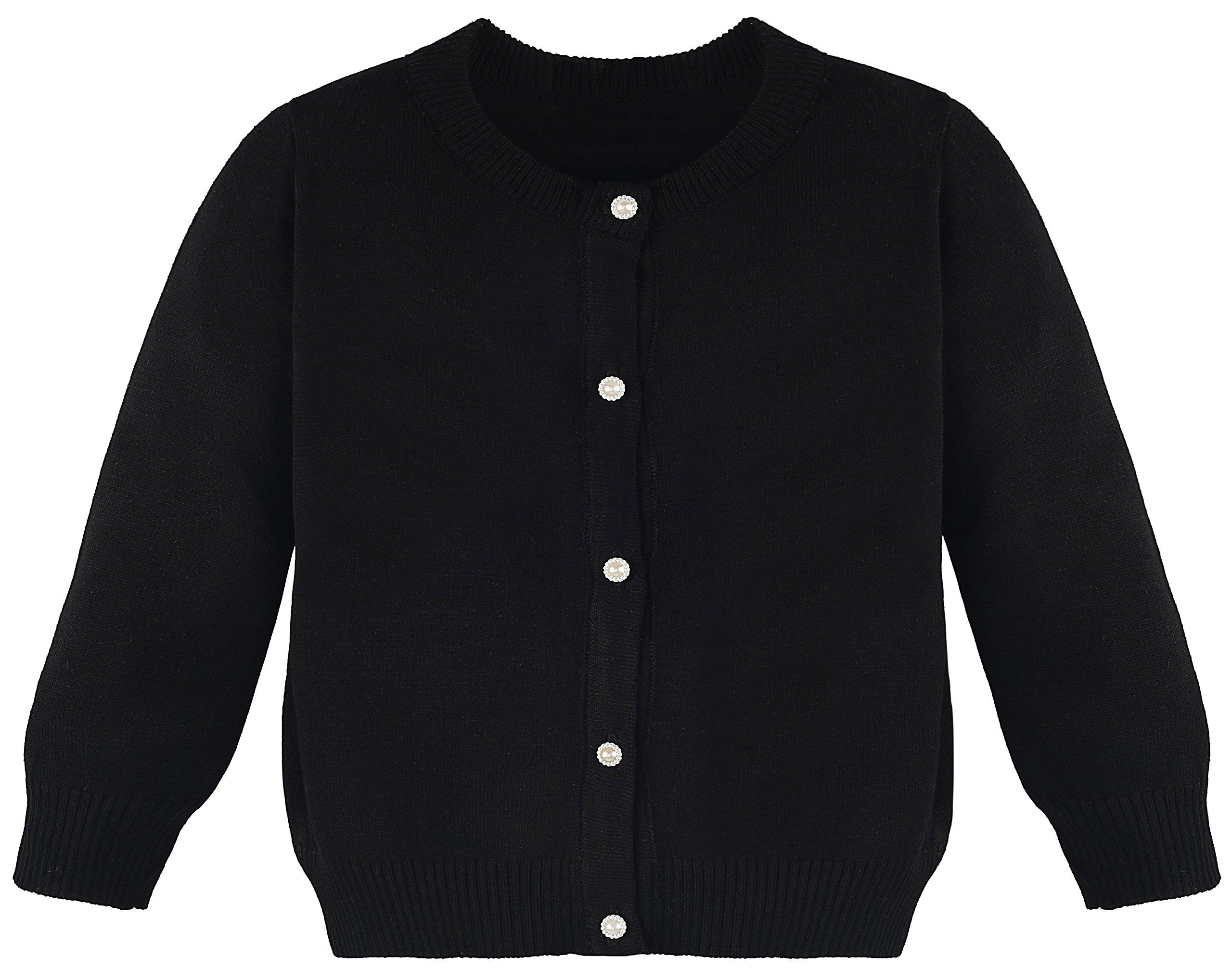 Lilax Little Girls' Knit Uniform Cardigan Long Sleeve Sweater 9 Black