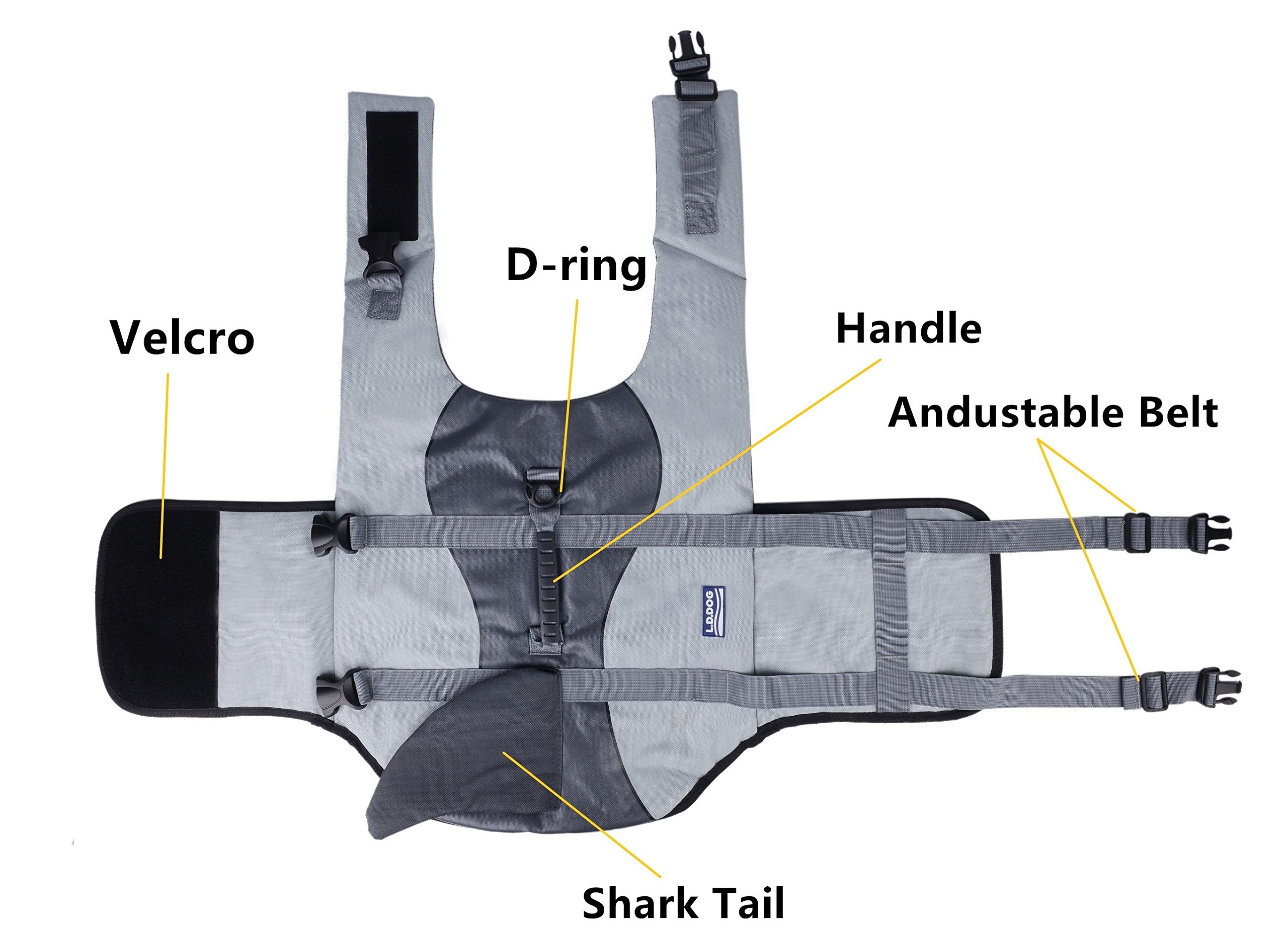 BFLIfe Dog Life Jacket Small Shark Pet Swimming Vest for Dogs by BFLIfe (Image #3)