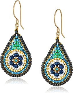 product image for Miguel Ases Small Floral Swarovski Contrasted Teal Tear Drop Earrings