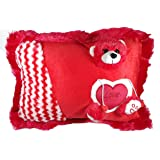 A-Mart Teddy Bear Soft Toy Cotton Pillow for Girl,14x12-inch (Red)