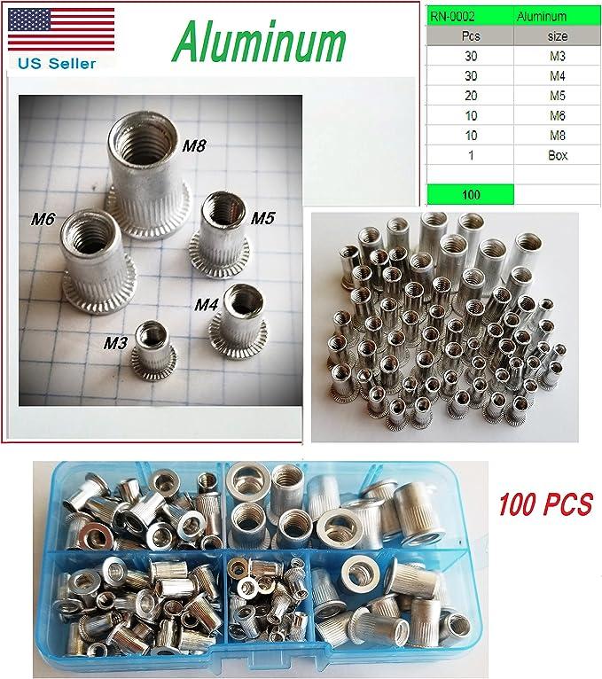20Pcs Aluminum Alloy Flat Head Threaded Rivet Insert Nutsert Cap Rivet NuXIHACS