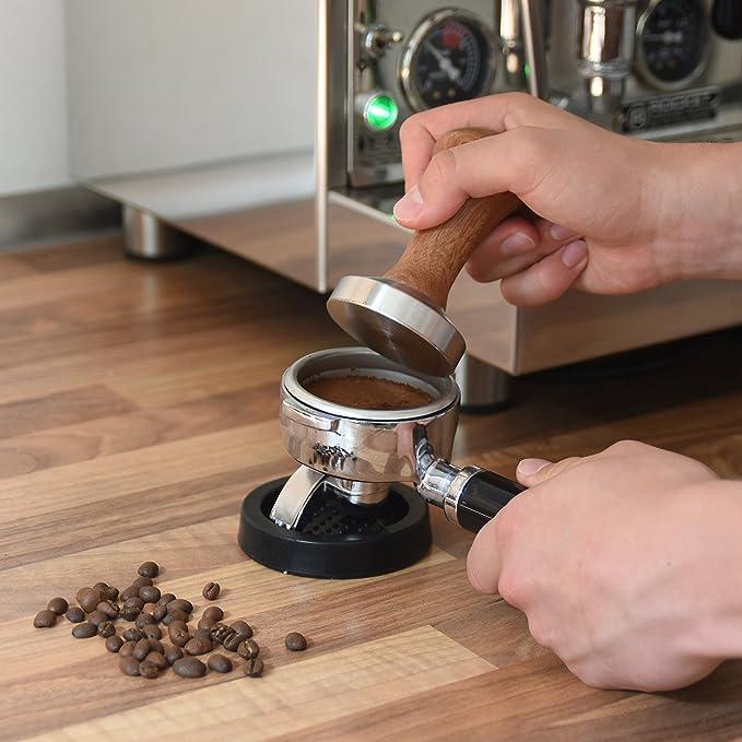 Home Dept Café Tamper Acero inoxidable 58 mm, soporte de base, mango de madera, Barista accesorios, buseness, Café de prensa para café Tapón, accesorio de ...