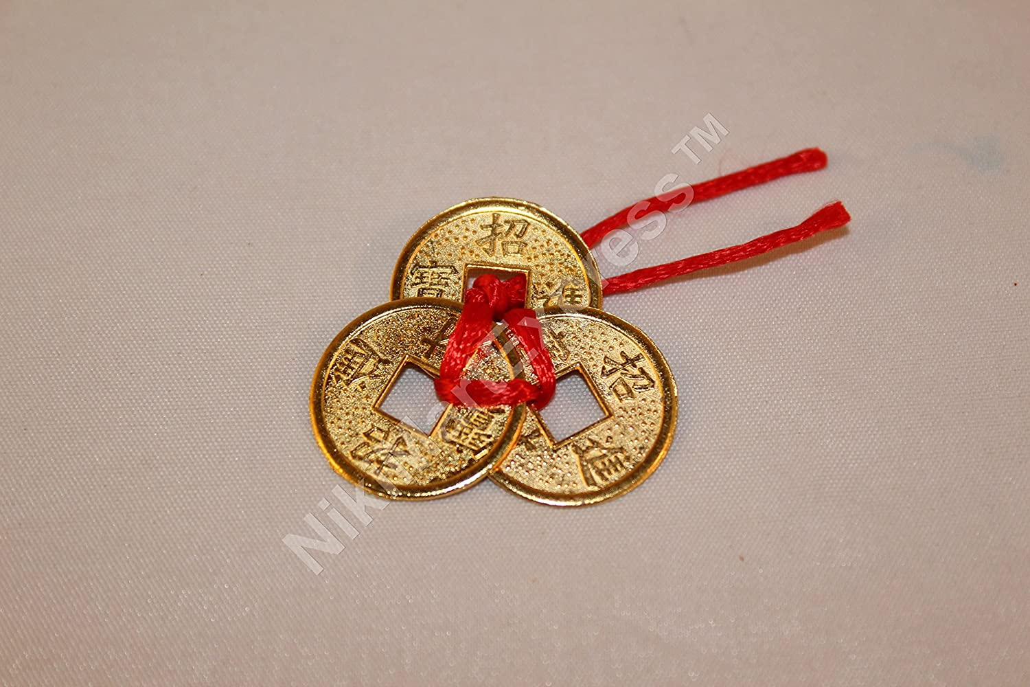 Chinese 3 Ribbon Tied (1x set) Lucky Wealth Health Ancient Golden Brass Coins Feng Shui Protection Amulet