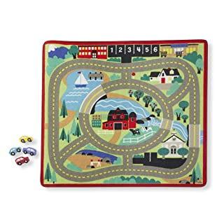 Melissa & Doug Round The Town Road Rug & Car Set (Cars & Trucks, Safe for All Floors, 4 Wooden Cars, 91.44 cm W x 99.06 cm L)