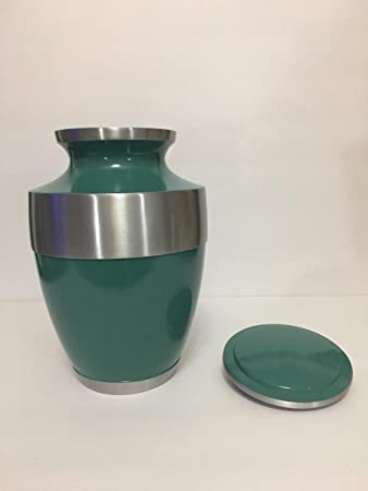 703 Green Cremation Urn with Silver Trim and Border for Adult Human Ashes, Large Size
