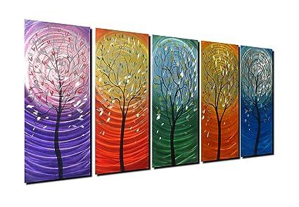 Amazon Com Winpeak Art Colorful Aluminum Tree Metal Wall Art