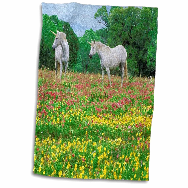 3D Rose Pair of Unicorns TWL/_62631/_1 Towel 15 x 22