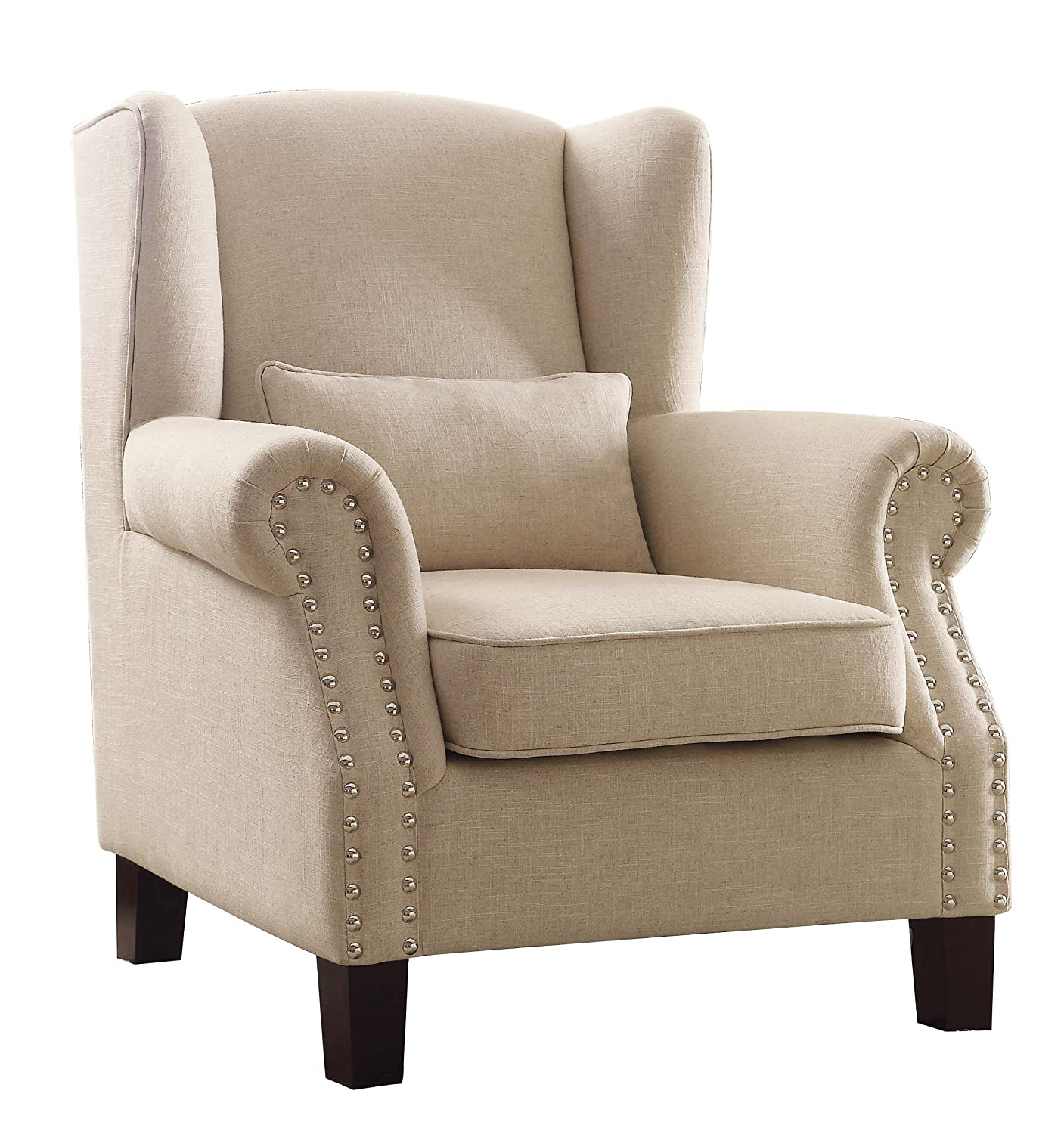 Amazon.com: Homelegance Adelaide Fabric Upholstered Wingback Accent Chair  With Nail Heads Flared Arm, Cream: Kitchen U0026 Dining