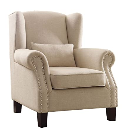 Amazing Homelegance Adelaide Fabric Upholstered Wingback Accent Chair With Nail Heads Flared Arm Cream Machost Co Dining Chair Design Ideas Machostcouk
