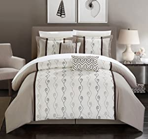 Chic Home Priston 6 Piece Comforter Set Color Block Embroidered Bedding - Bed Skirt Decorative Pillows Shams Included King Beige