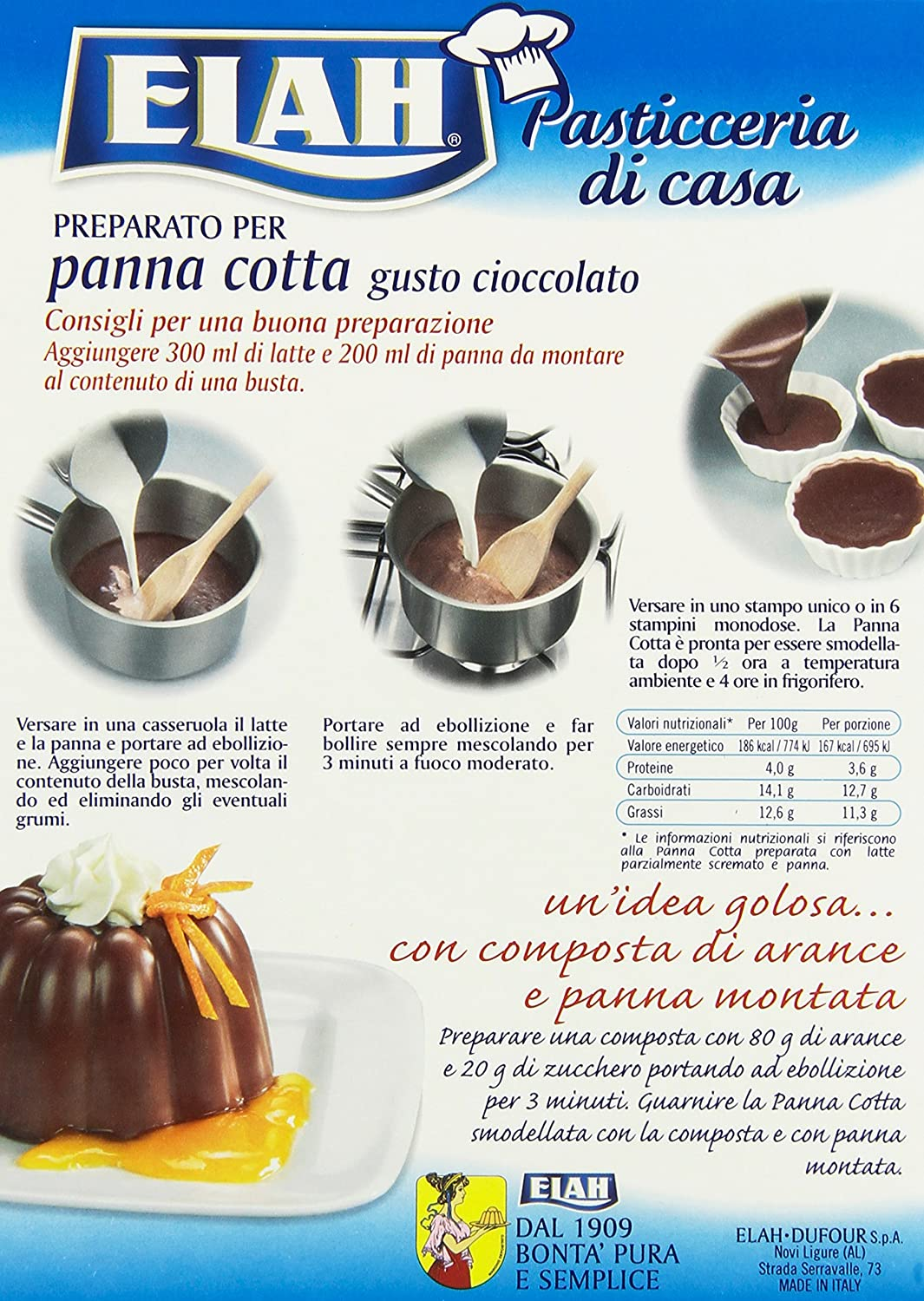 Amazon Com Elah Chocolate Panna Cotta Instant Mix From Italy 80