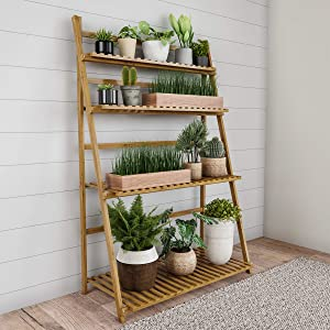 Pure Garden 50-LG5005 Ladder Plant Stand-4 Tier Freestanding Bamboo Storage Shelf, Wooden